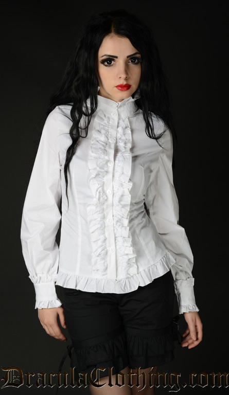 Womens White Victorian Blouse 100